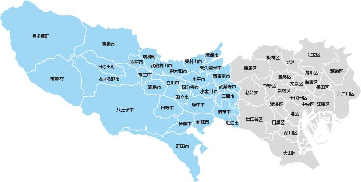 東京の県内市町村地図