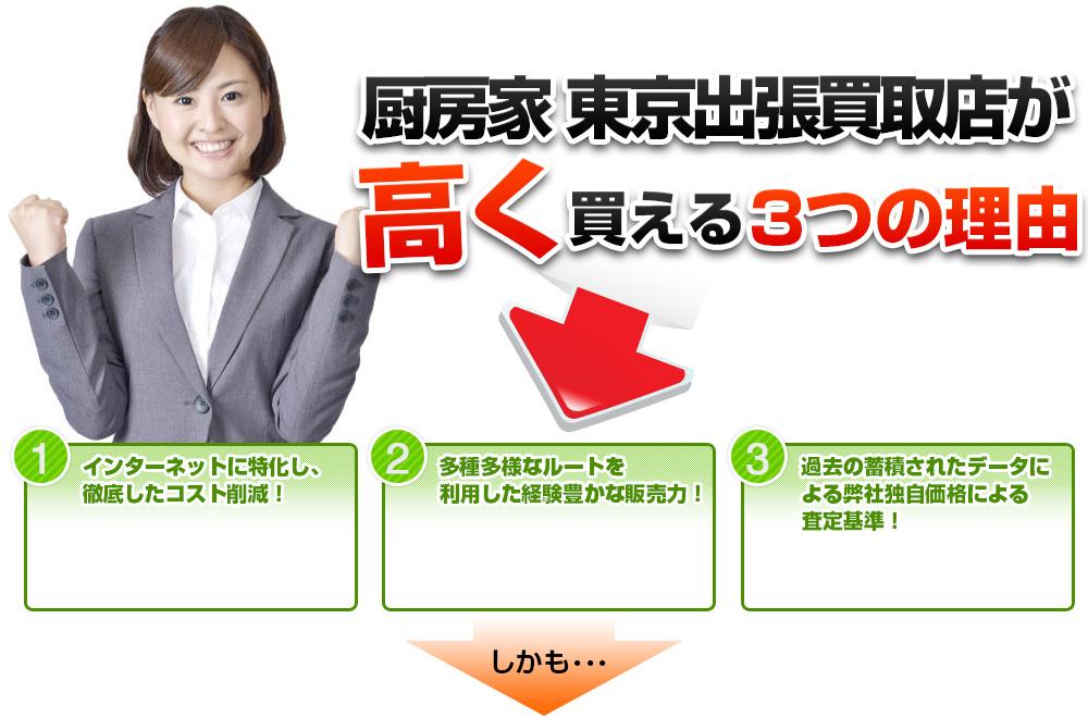 厨房家 東京出張買取店が高く買える3つの理由